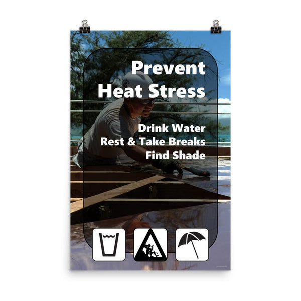 A heat stress safety poster depicting a construction worker working outside in the heat with text and infographics in the foreground depicting water, rest, and shade.