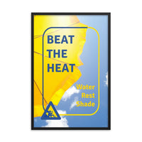A heat stress safety poster depicting a bright yellow umbrella with a bright blue sky in the background with safety slogan text and an infographic portraying someone resting.