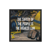 A safety poster showing a close-up of various PPE including safety glasses, ear muffs, gloves, a hard hat, and work boots with the quote by Cicero in the foreground.