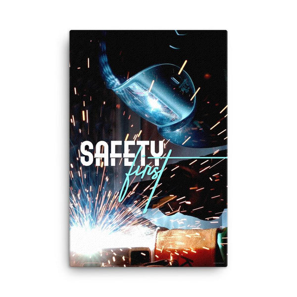 A safety poster showing a close-up of a welder welding a pipe while wearing a welding hood with bright sparks flying all around with the slogan safety first.