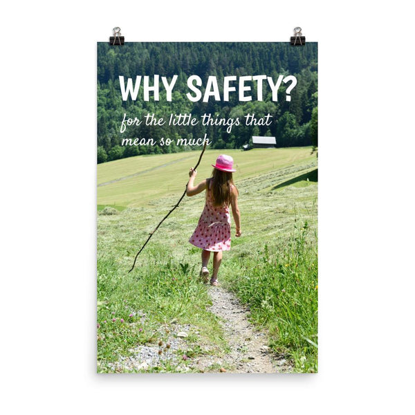 A workplace safety poster showing a hillside landscape in the country with a quaint house in the background and a little girl in a cute pink hat and dress playing with a large stick with the slogan why safety? for the little things that mean so much.