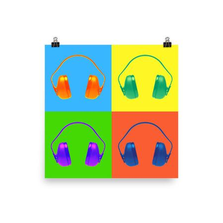 Colorful Safety Art - Ear Muffs - Premium Safety Poster