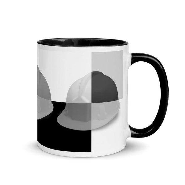 Monochrome Art Hard Hat - Ceramic Mug with Color Inside