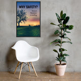 A workplace safety poster showing a giant flourishing tree with the sun setting in the background casting beautiful warm colors over the horizon and silhouetting the tree with the slogan why safety? because tomorrow is waiting.