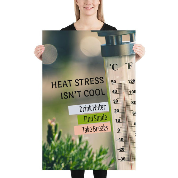 A heat stress safety poster depicting a thermometer outside in the sun showing over one hundred degrees Fahrenheit with safety slogan text next to the thermometer.