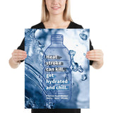 A heat stress safety poster with an outline of a water bottle and and an image of water splashes in the background with safety slogan text inside the water bottle.