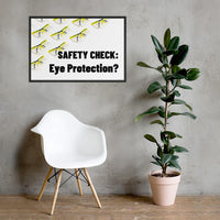 An eye safety poster depicting many clear safety glasses with yellow trim neatly lined up in rows and rows with a safety slogan in the foreground.