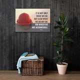 Safety poster showing a bright red hard hat sitting on concrete with sunny sky in background and a safety quote written in bold letters.