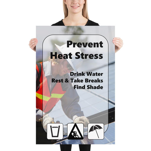 A heat stress safety poster with a construction worker working outside in the heat with text and infographics in the foreground depicting water, rest, and shade.