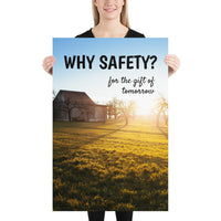 A workplace safety poster showing an old house on a large green yard with many trees, and the sun setting in the background casting light over all of the trees with the slogan why safety? for the gift of tomorrow.
