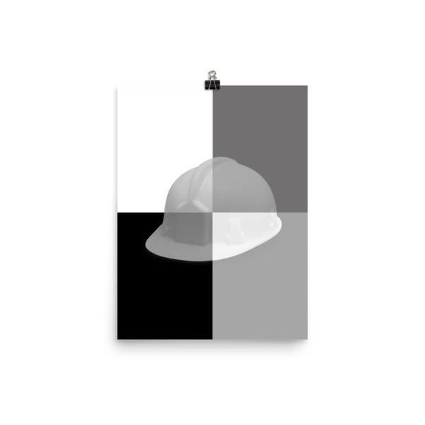 Monochrome Safety Art - Hard Hat - Premium Safety Poster
