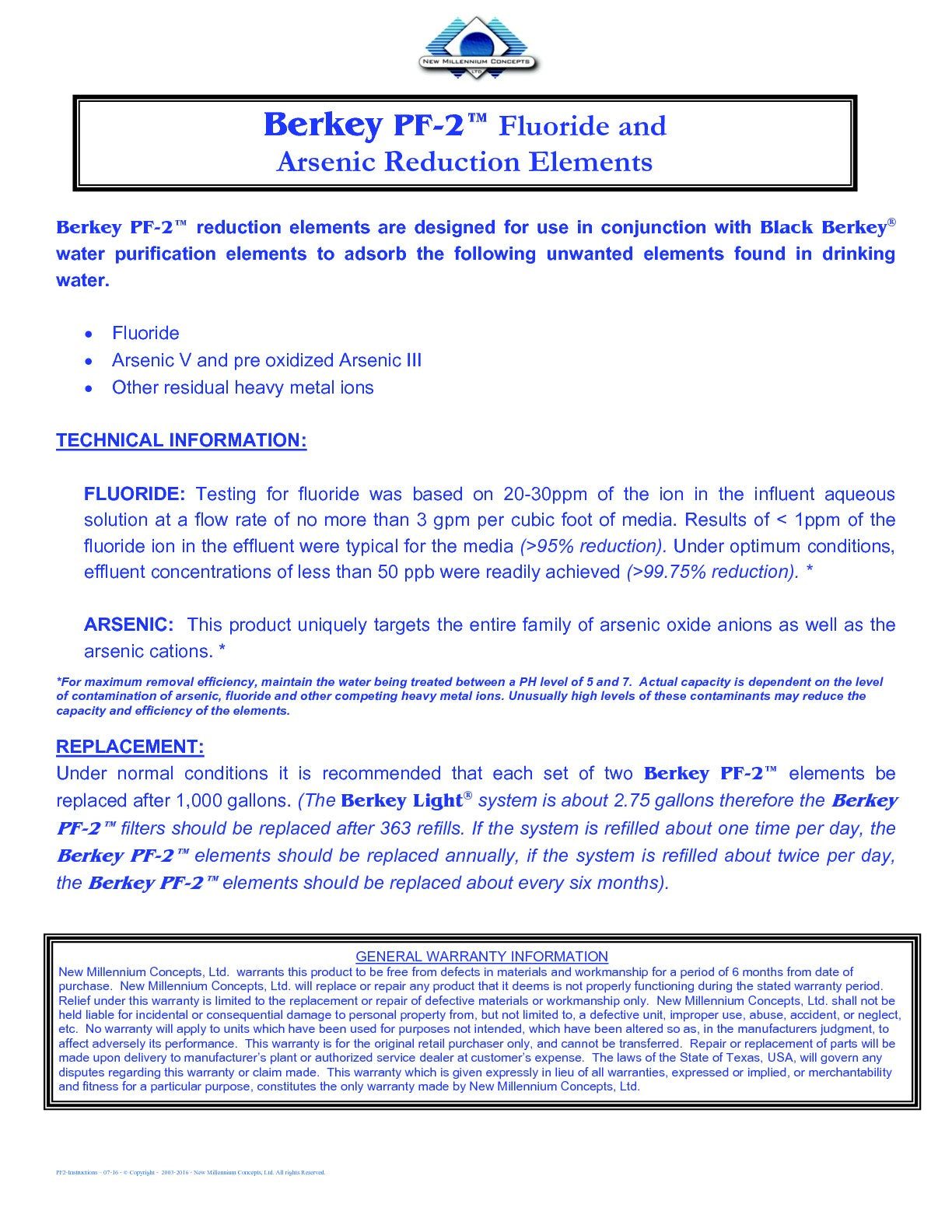 Berkey PF-2 Fluoride Reduction Elements Information