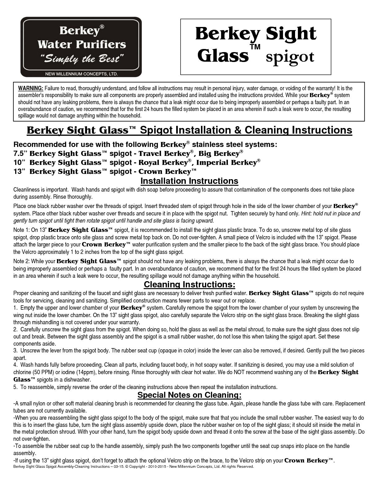 Berkey Sight Glass Spigot Instructions