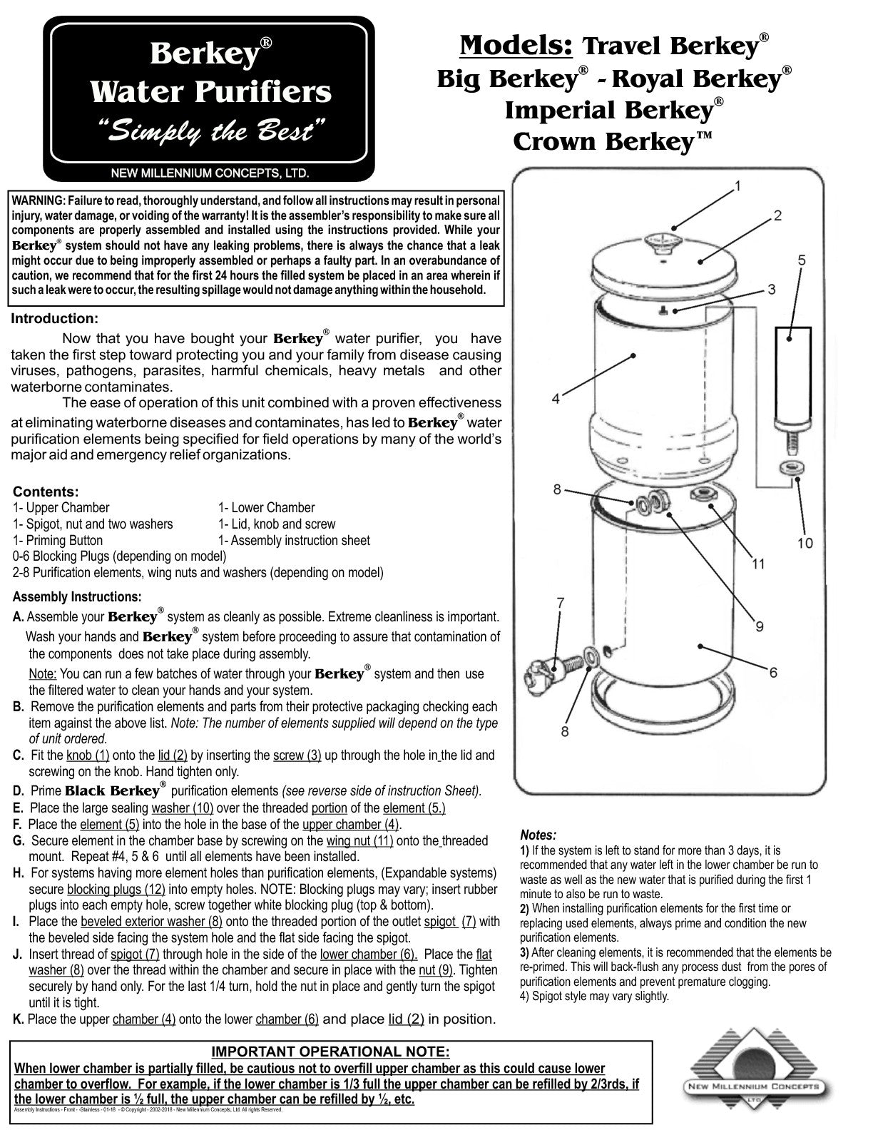Stainless Steel Berkey Assembly Instructions