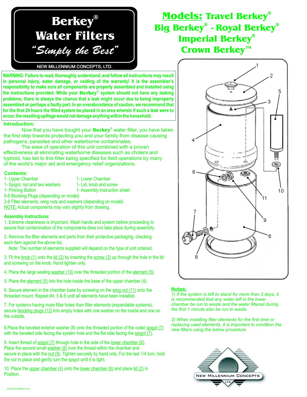 Stainless Steel Berkey Assembly Instructions With Ceramic Filters