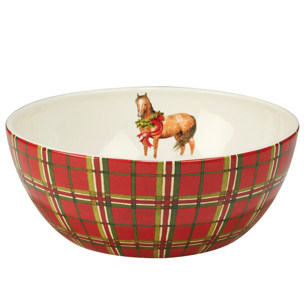 Plaid Deep Bowl Horse Design Inside Christmas On The Farm Collection