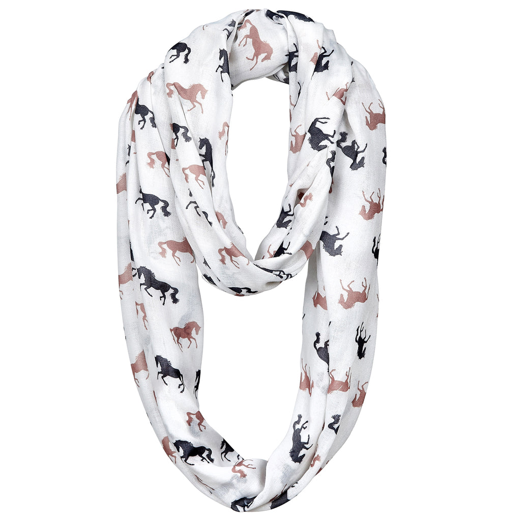 Infinity Scarf Horse Silhouette White