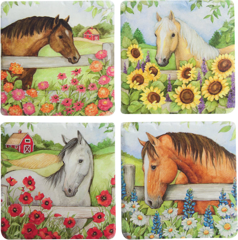 Horse In Florals Coaster 4 Pack - Kentucky Horse Park