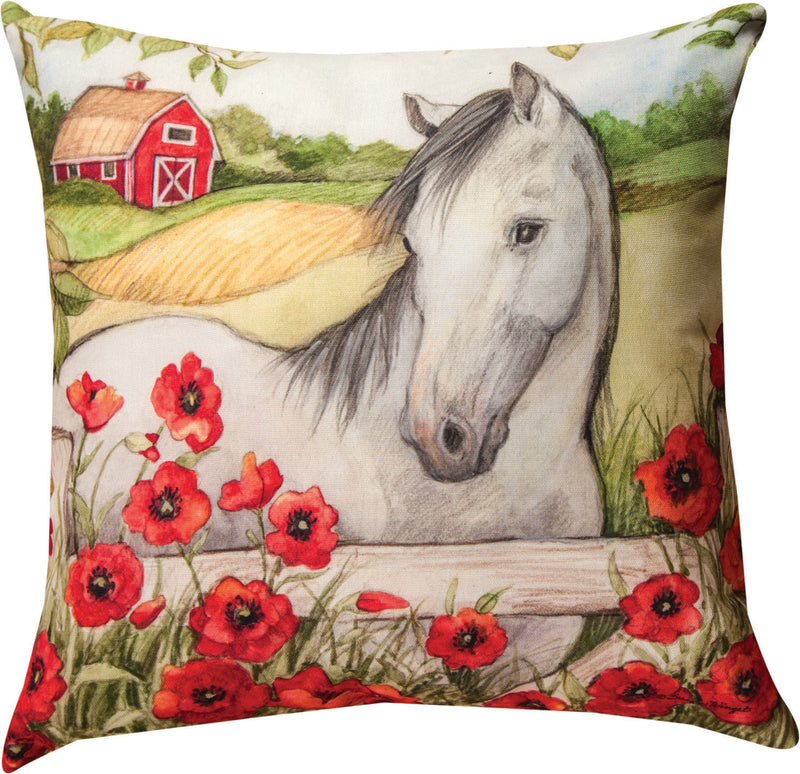 Horse In Florals Pillow - Poppies - Kentucky Horse Park