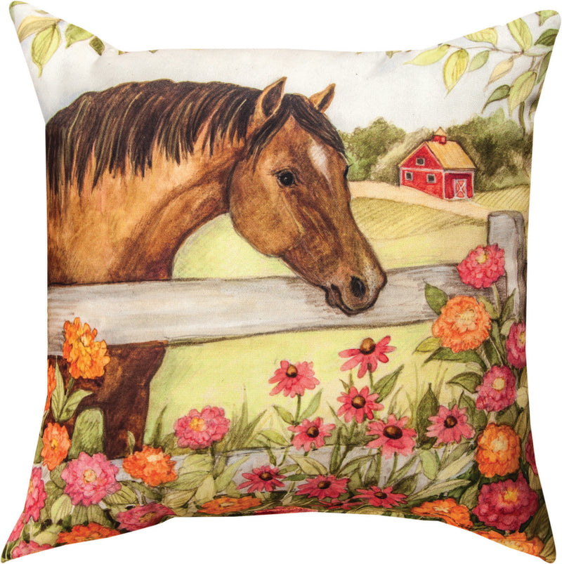 Horse In Florals Pillow - Zinnias - Kentucky Horse Park