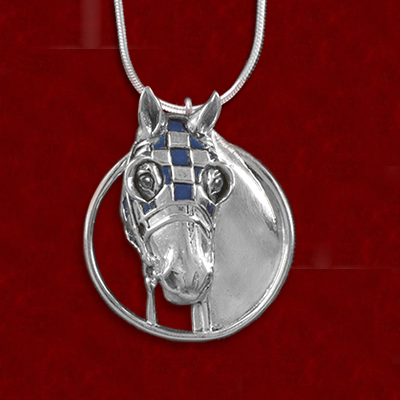 Necklace - Secretariat Sterling Blue Enamel Pendant - Kentucky Horse Park