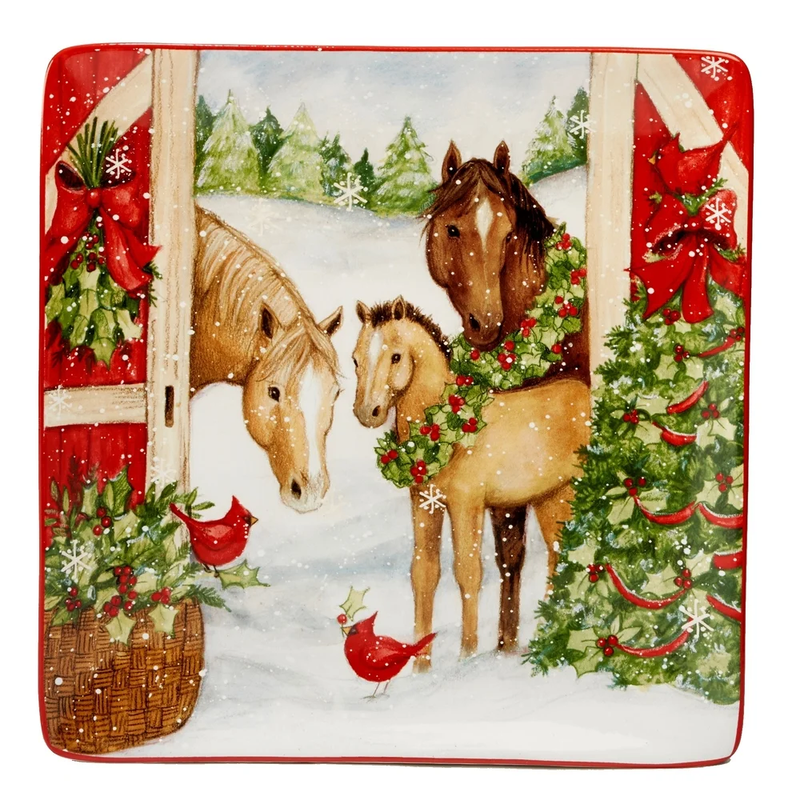 Holiday Square Platter-Christmas On The Farm