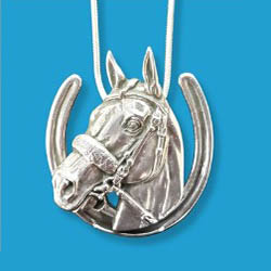Necklace - American Pharoah Sterling Horseshoe Pendant - Kentucky Horse Park