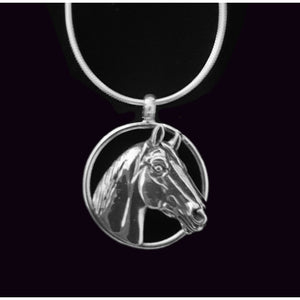 Necklace - Man o' War  Sterling Silver Large Circle Pendant - Kentucky Horse Park