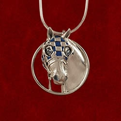 Necklace- Secretariat Small Blue Enamel Pendant