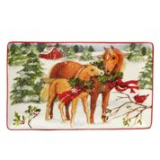 Holiday Rectangular Platter 13 X 8-Christmas On The Farm