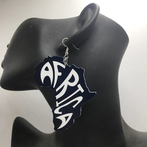 Africa Black White Earrings
