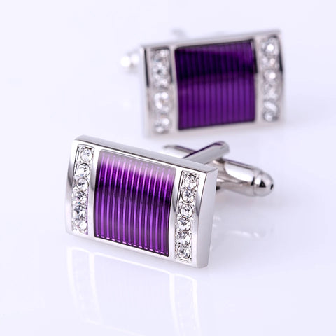 Purple Silver Crystal Stone Cufflinks