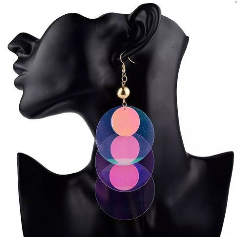 Pink Large Sequins Multilayer Dangle Earrings