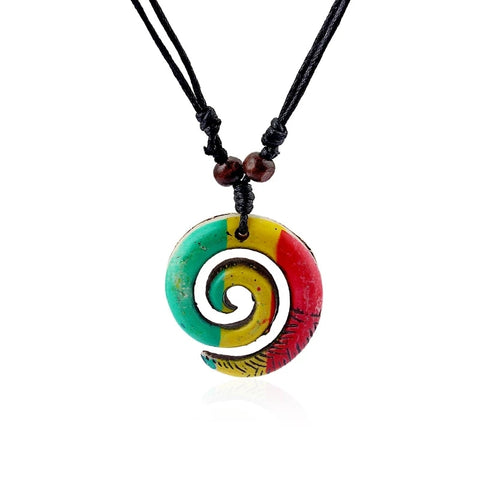 Tribal/Rasta Spiral Swirl Charm Pendant Necklace