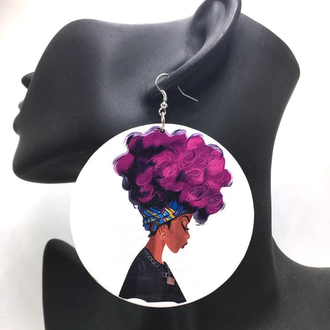 Purple Curls Earrings