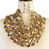 Crystal Gold Necklace Set