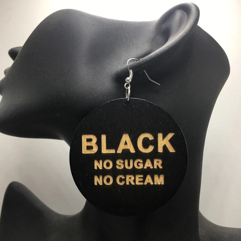 Black No Sugar No Cream Earrings