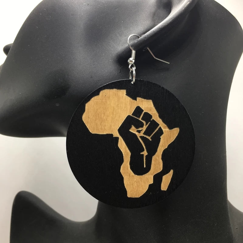 Africa Black Fist Wooden Earrings