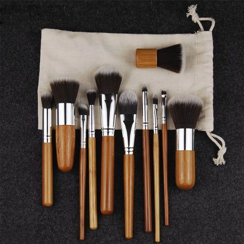 11pc Wooden Cosmetic Brush Set