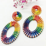 Rafica hand-woven Rainbow Earrings