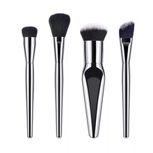 Load image into Gallery viewer, Silver 4pc Cosmetic Brush Set