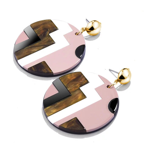 Pink White Brown Earrings