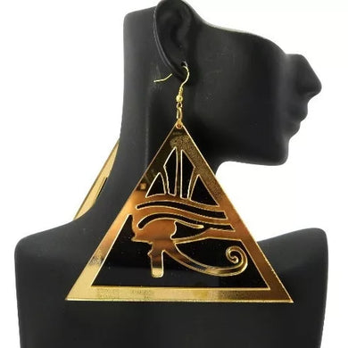 Gold Acrylic Eye of Horus  Earrings
