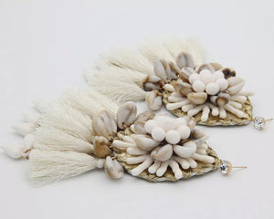 Cowrie Shell Fringed Tassel Drop Earrings