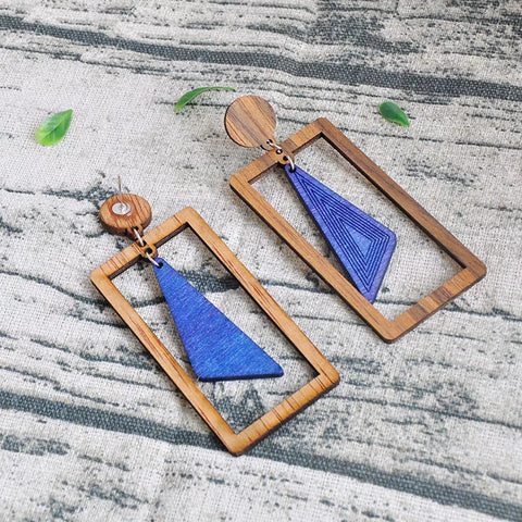Blue | Wooden Sqaure Geometric Style Earrings