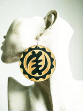 Load image into Gallery viewer, Adinkra Gye Nyame symbols Wooden earrings African Jewelry
