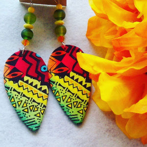 Ethnic Inspired Vibrant Multi Color Fabric Earrings