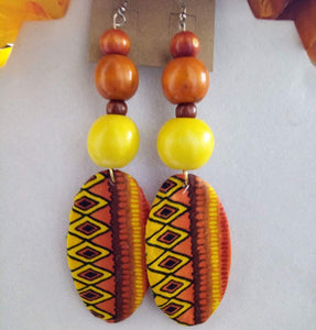 Orange/Red/Yellow African Print Fabric Earrings with wooden beads