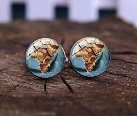 Human Face Africa Contour Cufflinks Blue Sea Gun Metal Cuff Links