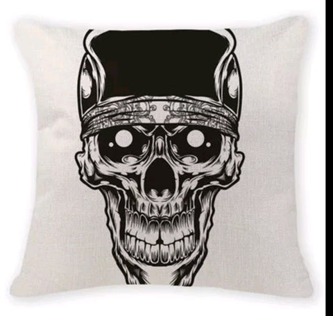 White Skull Head Decorative Pillow Case